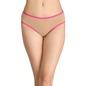 Cotton Mid-Waist Bikini with Contrast Elastic Band - Beige