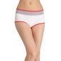 Printed High-Waist Hipster with Powernet at Waist - White