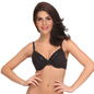 Padded Full Coverage Bra In Black With Lace Layered Cups