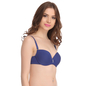 Push Up Balconette Bra In Navy With Detachable Straps