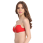 Push Up Balconette Bra In Red With Detachable Straps