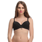 Padded Lacy Demi Bra In Black With Detachable Straps