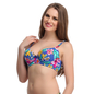 Floral Push Up Bra In Blue With Detachable Straps