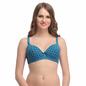 Blue Push Up T-shirt Bra With Detachable Straps & Polka Prints