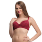 Maroon Push Up T-shirt Bra With Detachable Straps & Polka Prints