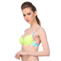 Neon Green Push-Up Bra With Plunge Neck & Back Detachable Straps