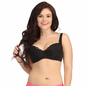 Plus Size Padded Bra In Black With Lacy Cups