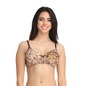 Printed Lightly Padded Wirefree Demi Cup T-Shirt Bra - Brown