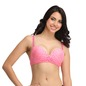 Printed Non-Wired Padded Demi Cup Push-up Balconette Bra - Pink
