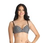 Printed Padded Non-Wired Balconette Push-up Bra - Black