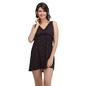 Printed Frilled Short Nightdress - Black