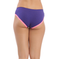 Purple Cotton Spandex Bikini With Contrast Lace At Leg Opening