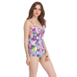 2 Pc Polyamide & Powernet Padded Swimsuit With Purple Tankini and Shrug