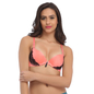 Push Up Bra In Coral With Laser Cut Finish & Detachable Straps