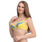 Push Up Bra In Yellow With Detachable Straps & Panelled Cups