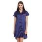 Satin High-Low Sleepshirt With Contrast Trims - Blue