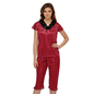 Satin & Lace Night suit In Maroon