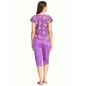 Satin & Lace Top & Capri Nightsuit - Purple
