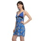 Satin Printed Babydoll With Lacy Cups - Blue