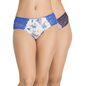 Set of 2 Cotton & Lace Mid Waist Bikinis - Navy Blue & White