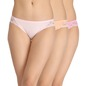 Set of 3 Cotton Mid-Waist Bikini With Side Lace Panels - Multicolour