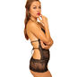 Stretchable Lace Teddy In Black