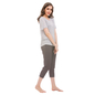 Cotton Striped Top With Solid Capri - Grey