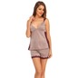 Plunging Neck Top and Shorts Nightwear Set With Lace Work - Grey