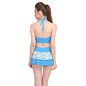 2 Pc Polyamide Padded Floral Print Swimsuit In Aqua