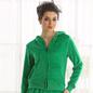 Winter Hooded Velvet Jacket In Green