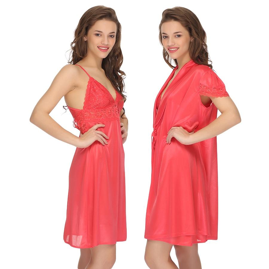 2 Pc Premium Satin Nightwear in Peach with Lace