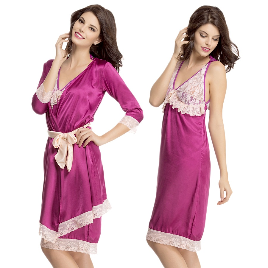 2 Pcs Lace And Satin Nighty With Robe In Dark Purple