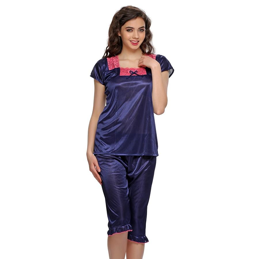 2 Pcs Nightwear set In Blue