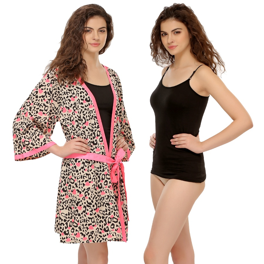 2 Pcs Set : Robe With A Camisole