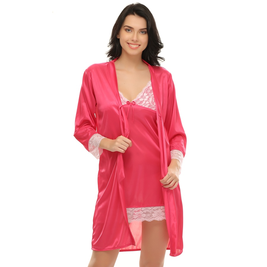 2 Pcs Short Robe & Nightie Set