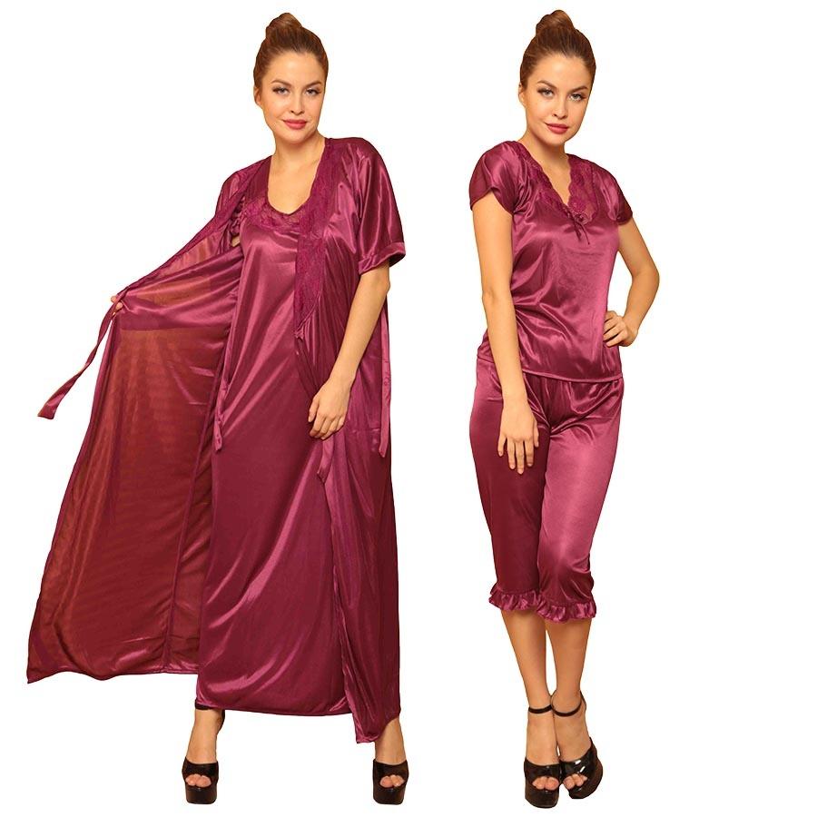 4 Pcs Satin Nightwear In Wine