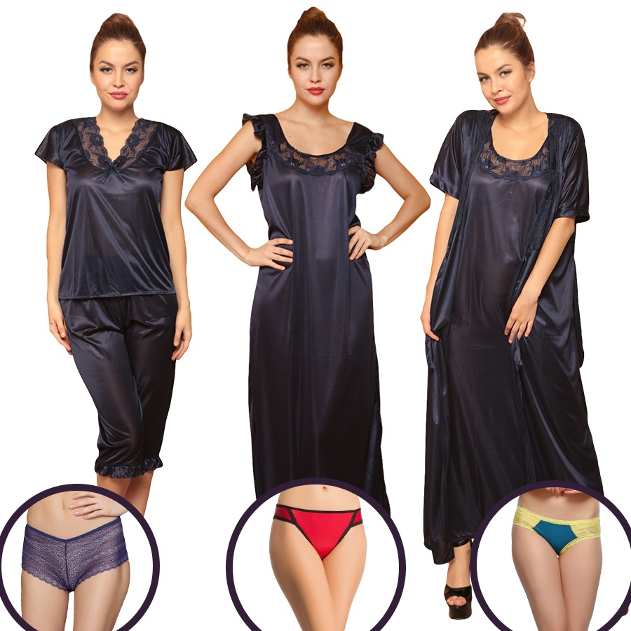 7 Pc Nightwear Set In Navy