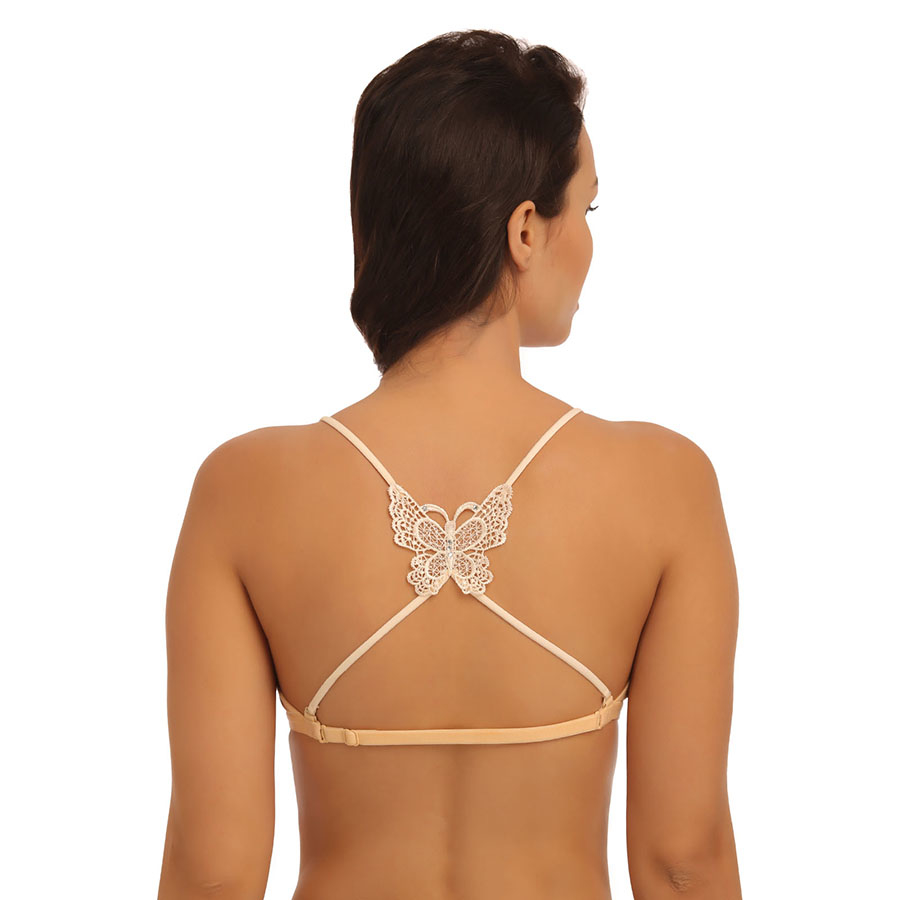 Beige Detachable String Straps With Butterfly Shaped Crochet