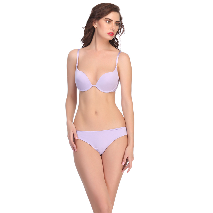 Polyamide Bra And Panty Set In Mauve