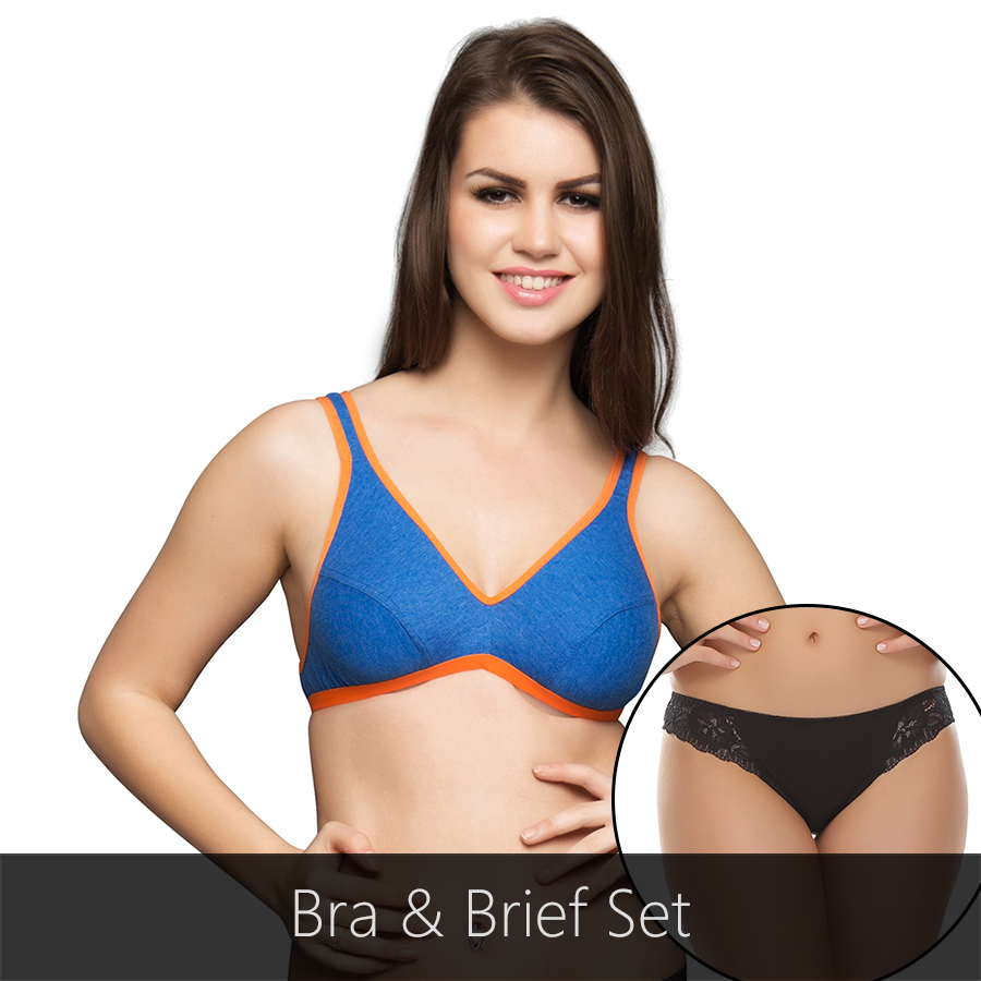 Bra And Panty Set In Blue & Black