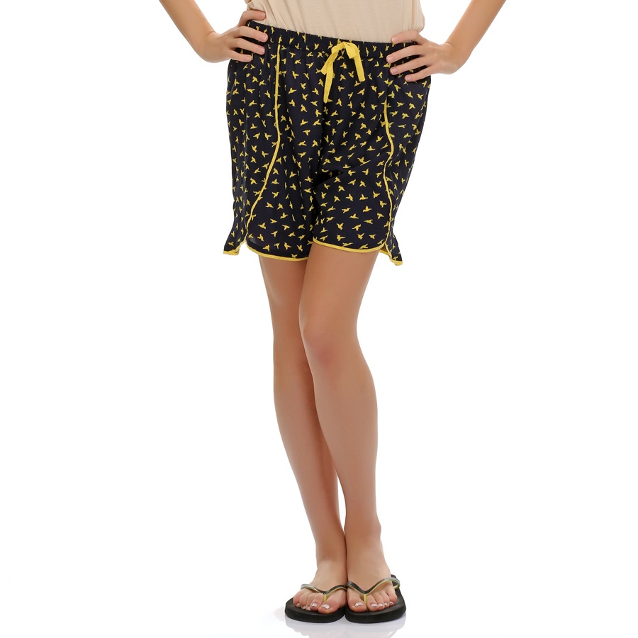 Chic Printed Designer Shorts In Navy Blue