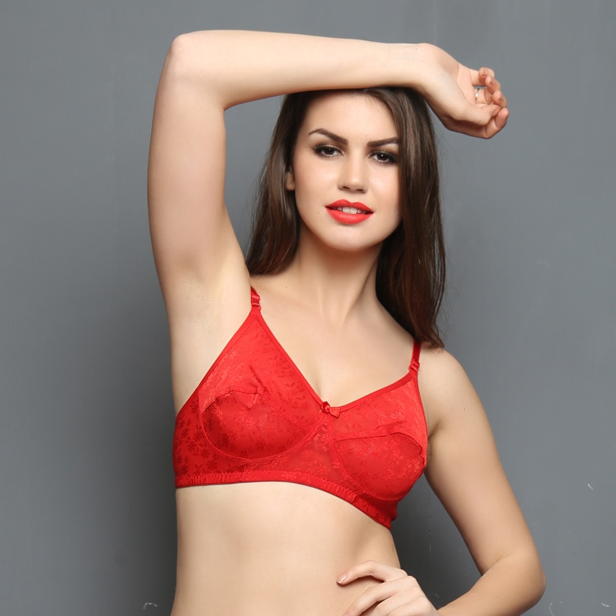 Chic Non-padded Wirefree Bra In Red