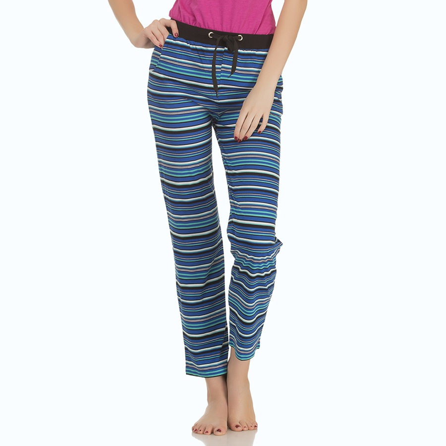Cotton Striped Pyjama With Solid Waist Band - Black