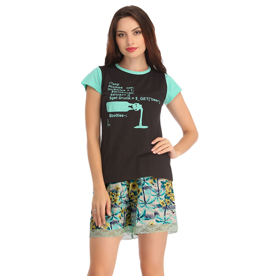 Cotton Black T-Shirt With Printed Shorts