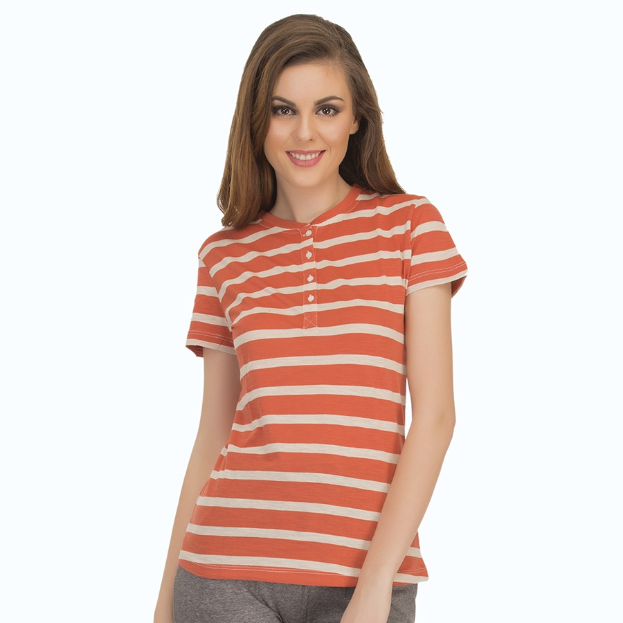Cotton Comfy Striped T-Shirt In Orange