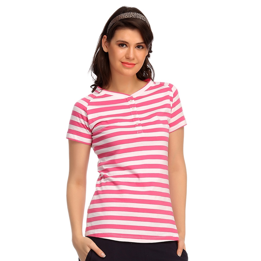Cotton Comfy Striped T-Shirt In White