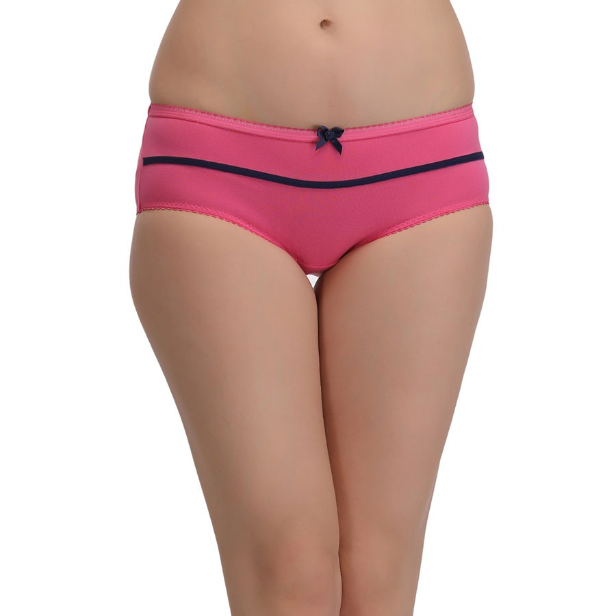 Cotton High Waist Hipster With Contrast Bow - Pink
