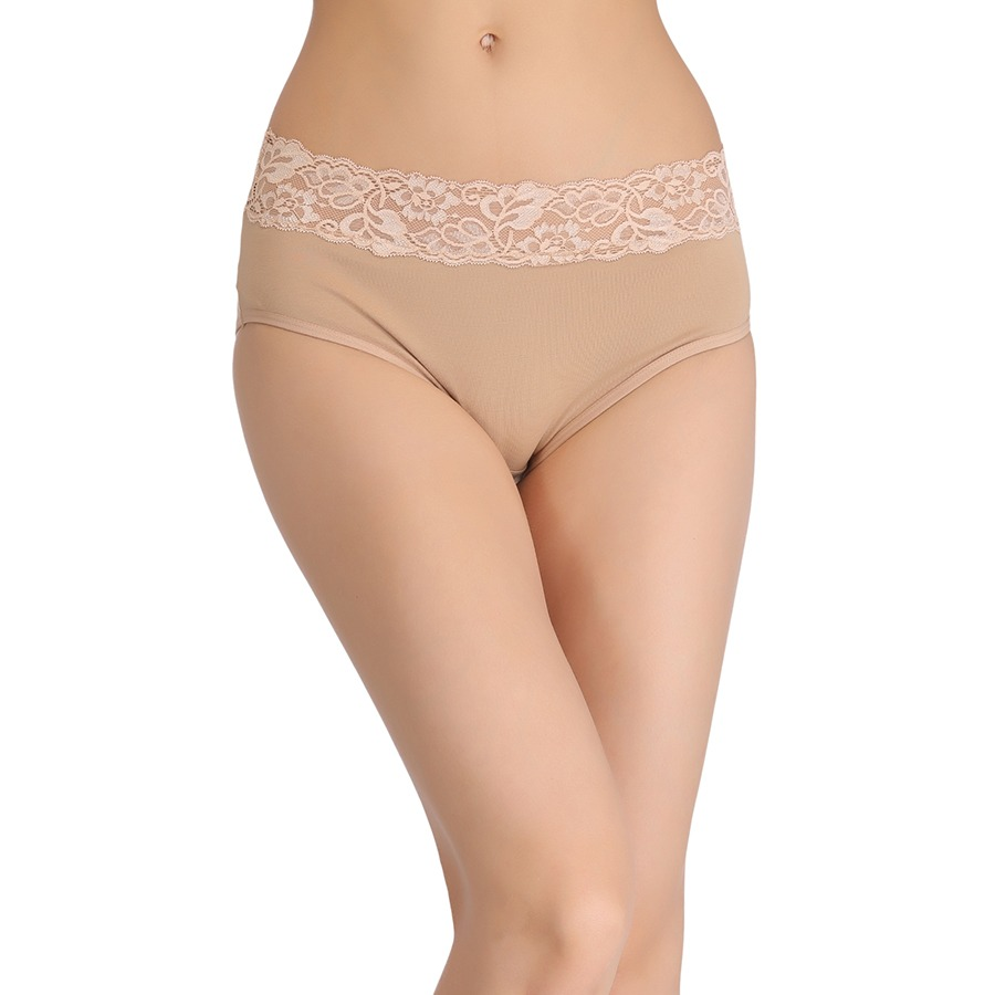 Cotton High-Waist Hipster with Lace at Waist - Beige