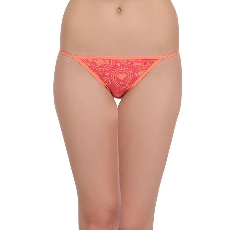 Cotton Low Waist Printed Bikini - Orange