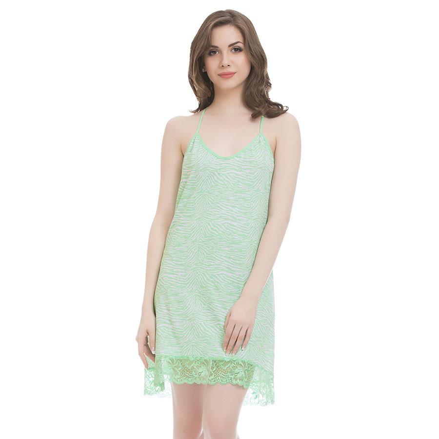 Cotton Spandex Nighty In Green With Cross Back